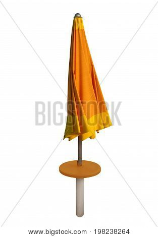 Closed orange beach umbrella isolated on white. Clipping path included.