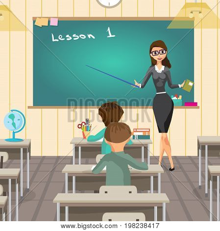 School interior is class with school board and desks. Young female teacher on lesson at blackboard in classroom. Vector flat cartoon illustration