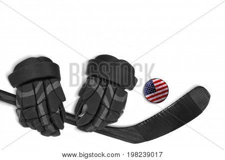 American hockey puck putter and gloves on white background. Concept hockey