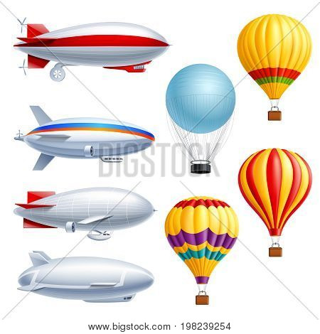 Airship realistic icon set with different types of planes dirigible and air balloons vector illustration
