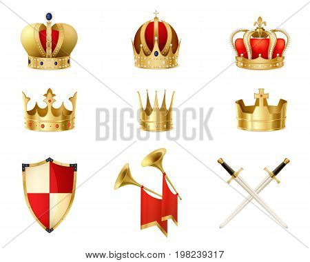 Set of realistic golden royal crowns decorated with precious stones heraldic shield and crossed swords isolated vector illustration