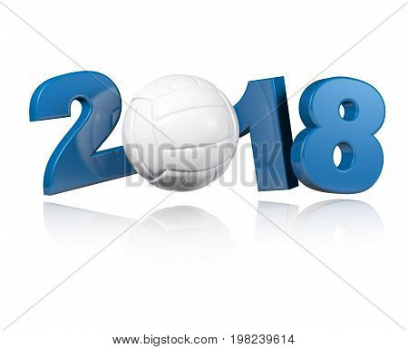 3D illustration of One Volleyball 2018 Design with a white Background