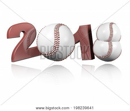 3D illustration of Three Baseball balls 2018 Design with a white Background