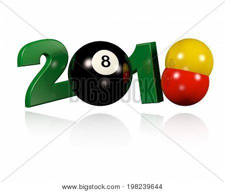 3D illustration of Three Billiard balls 2018 Design with a white Background