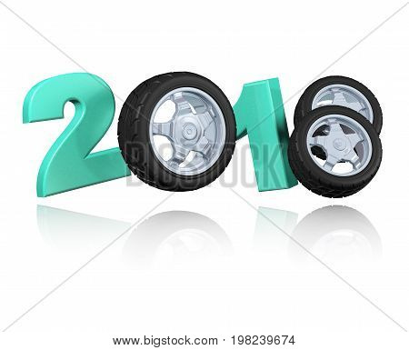 3D illustration of Three Wheels 2018 Design with a white Background