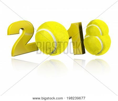 3D illustration of Three Tennis balls 2018 Design with a white Background
