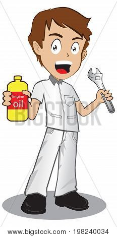 Full length portrait of young and handsome repairman cartoon style vector illustration. Hold oil bottle Another hand wrench. isolated on white background.