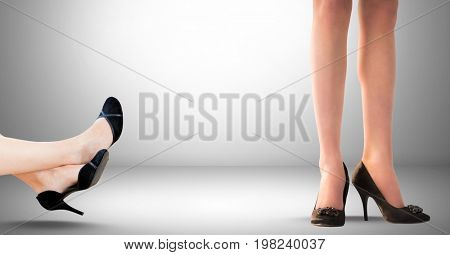 Digital composite of Businesswoman's legs, feet and shoes relaxing