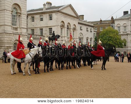 Royal horseguard cavalry on parade in London