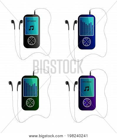 mp3 players  on white background. Vector illustration