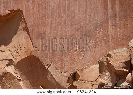 Petroglyphs in Capitol Reef National Park. Utah. USA
