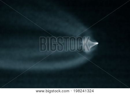 BAIKONUR, KAZAKHSTAN - July 28, 2017: Trace of smoke in the sky. Launch of the Soyuz-MS-05 rocket from the Baikonur cosmodrome.