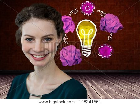 Digital composite of Woman standing next to light bulb with crumpled paper balls