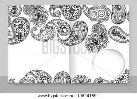 Template cover of a copybook with an trendy design: Paisley pattern.