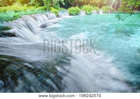 Chet Sao Noi Waterfall Saraburi Thailand with sun light.