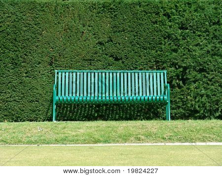 Green bench with hedge behind