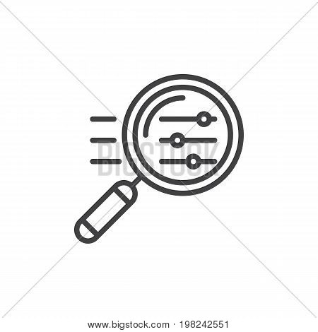 Magnifying glass with settings sliders line icon, outline vector sign, linear style pictogram isolated on white. Symbol, logo illustration. Editable stroke. Pixel perfect vector graphics