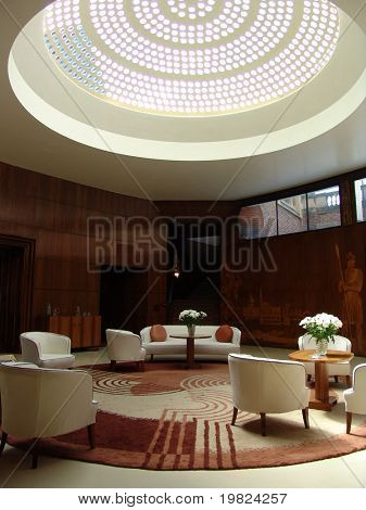 Art deco living room with skylight dome