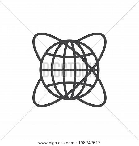 Worldwide line icon, outline vector sign, linear style pictogram isolated on white. Symbol, logo illustration. Editable stroke. Pixel perfect vector graphics