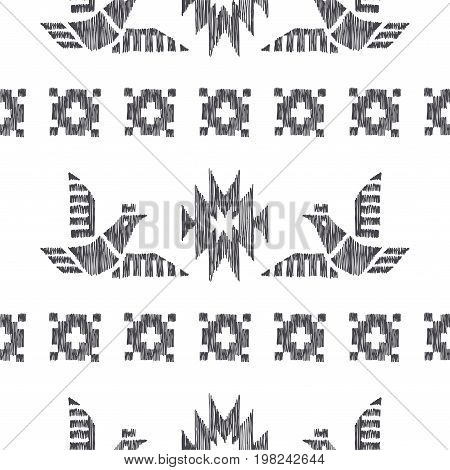 Tribal indian american seamless pattern with stripes. Vector hand drawn geometrical ornament with birds. Ethnic texture with mexican motifs.