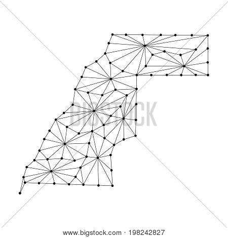 Sahrawi Arab Democratic Republic map of polygonal mosaic lines network rays and dots vector illustration.
