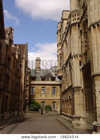 Old street in Cambridge town in England