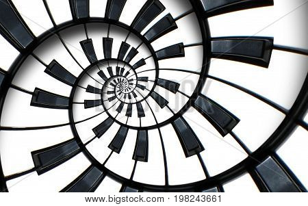 Piano keyboard printed music abstract fractal spiral pattern background. Black and white piano round spiral. Spiral stair. Piano helical pattern abstract background Abstract piano spiral effect