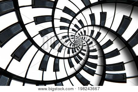 Piano keyboard printed music abstract fractal spiral pattern background. Black and white piano round spiral. Spiral stair. Piano helical pattern abstract background staircase. Abstract piano spiral effect. Piano stair