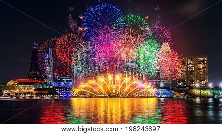 Firework display in Singapore. Landscape of Singapore.