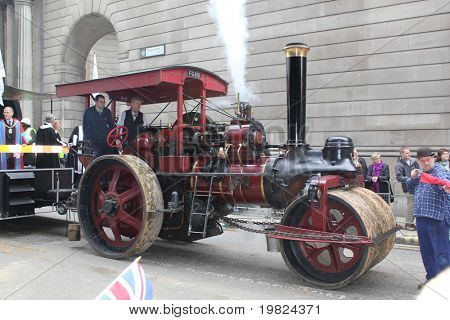 CITY OF LONDON, ENGLAND - NOVEMBER 12: Steam tractor at the Lord Mayor's Show in the City of London on November 12, 2010. The Lord Mayor's Show is an 800 year old annual parade in the CIty of London.