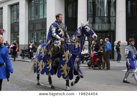 CITY OF LONDON, ENGLAND - NOVEMBER 12: Knight on horseback rides in the Lord Mayor's Show parade in the City of London on November 12, 2010. The Lord Mayor's Show is an annual parade in London.