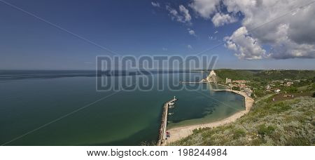 Amazing view from above the bay. Panoramic landscape of Kavarna Bulgaria
