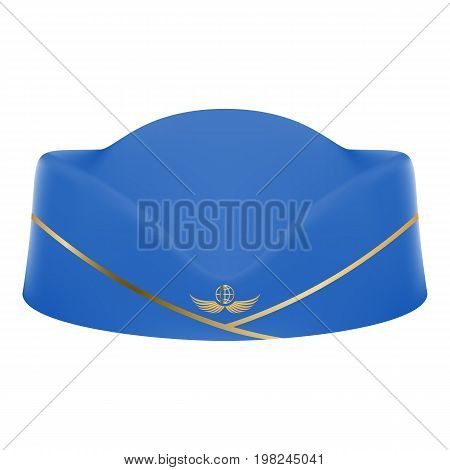Blue Stewardess Uniform Cap Isolated On A White Background. Vector Illustration.Civil Aviation And Air Transport