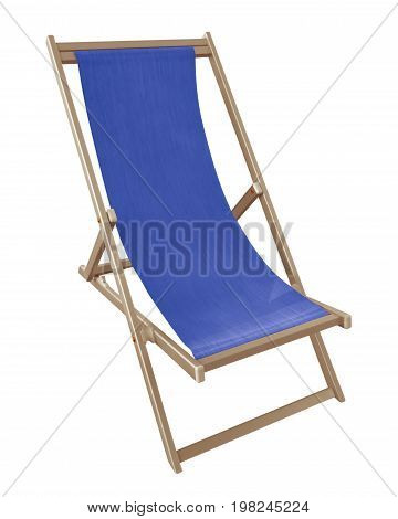 Blue deckchair isolated on white. Clipping Path included