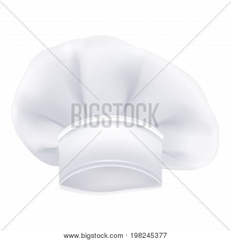 Photorealistic White Chef Or Cook Or Bakers Hat Isolated On A White Background. Vector Illustration. Cookery