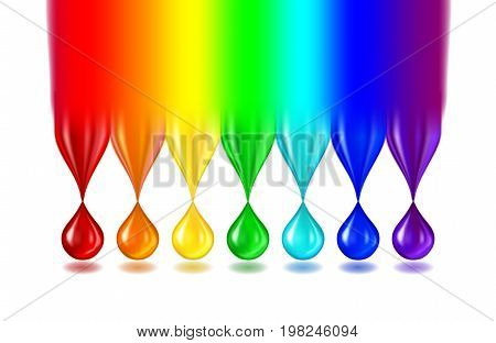 The rainbow turns into not transparent drops of paint of iridescent color. Separately on a white background. Realistic vector illustration.
