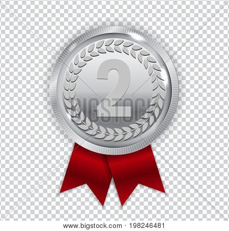 Champion Art Silver Medal with Red Ribbon Icon Sign Second Place Isolated on Transparent Background. Vector Illustration EPS10