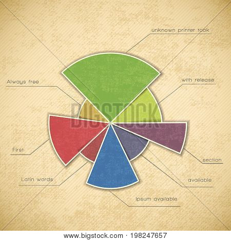 Round color chart divided into sectors they are marked and signed vector illustration