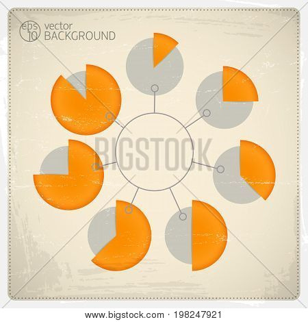 Pie charts infographic arranged in a circle with different size particular parts vector illustration