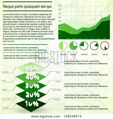 Graphs and diagrams vintage infographics set with text fields on textured background flat vector illustration