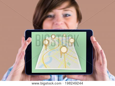 Digital composite of Girl Holding tablet and Map of City with  marker location pointers