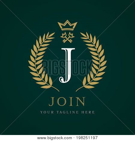 Luxury Crown and key calligraphic letter J monogram logo.  Laurel elegant beautiful round logo with crown and key. Vector letter emblem sign J for Royalty, Restaurant, Boutique, Hotel, Heraldic, Jewelry