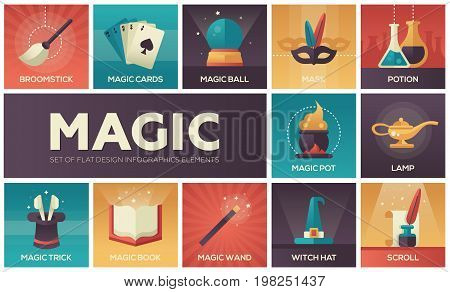 Magic and fairy tale - modern vector line design icons and elements set. Gradient color symbols of wand, potion, trick, witch hat, broomstick, mask, lamp, cards, pot, scroll, book