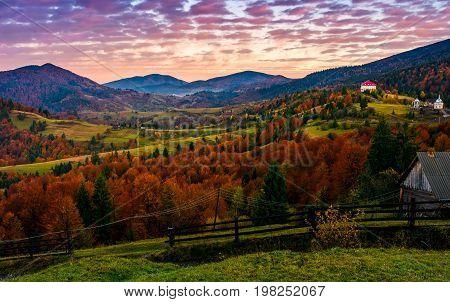 Exquisite Autumn Sunrise In Mountainous Countryside