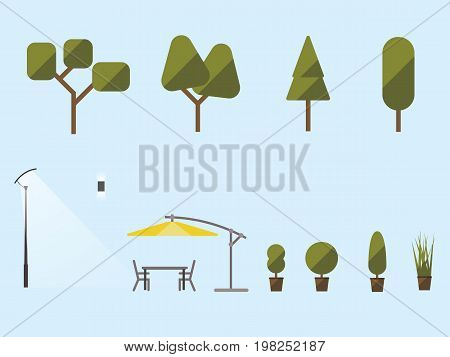 Garden plants and furniture. A set of shrubs trees an umbrella from the sun a table and chairs. Street light. Flat material design. Vector illustration. Light background. Eps10.