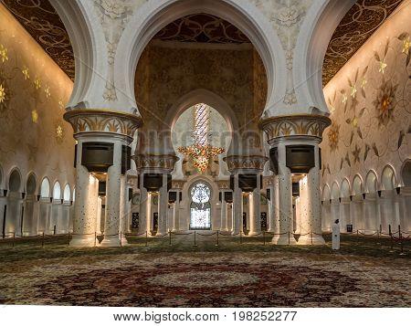 Interior view to Sheikh Zayed Mosque - 02-05-2015 Abu-Dhabi UAE