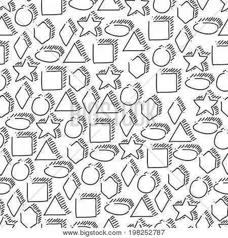 Seamless geometric shapes hand-drawn pattern. Black figures on white background. Elementary hand drawn geometric symbols.