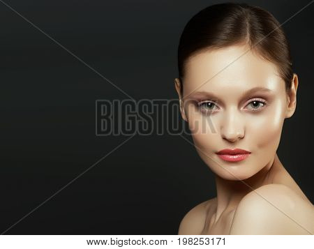 Nude Makeup. Beauty Woman Face Portrait. Beautiful Spa Model Girl With Perfect Clean Skin. Female Lo