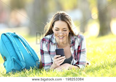 Portrait of a happy single student texting on a mobile phone lying on the grass of a park