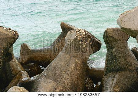 concrete blocks used to protect the beaches / coastal line from water eroding - Romania seaside - the Black Sea